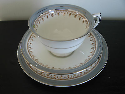 Aynsley Silver Shadow China Trio Cup & Saucer