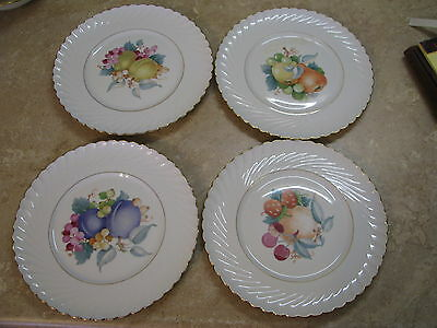 "ROYAL TETTAU Germany US Zone FRUIT/ORCHARD PLATES Fluted 8.5"" LOT OF FOUR VTG"