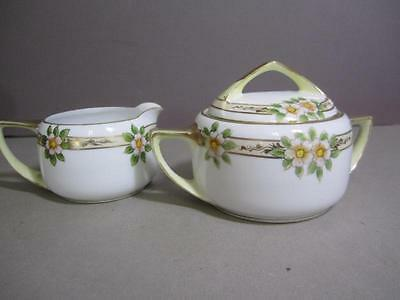 Nippon Handpainted Covered Sugar and Creamer with Floral and Gold Design kk3