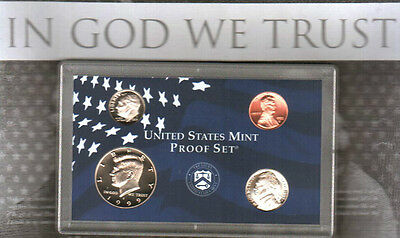 1999 S Clad Proof 4-Coin Fractioal Set Kennedy-Roos-Jeff-Linc in Lens No Box/Coa