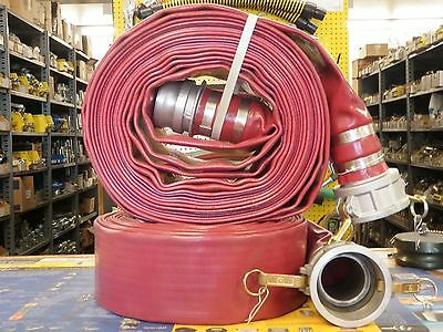 """3"""" x 50' RED PVC DISCHARGE HOSE - W/Male & Female Camlock Fittings"""