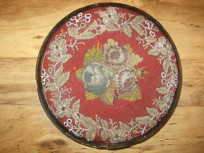19th Century Footstool with English Bead Work Low Tiny Feet Foot Stool