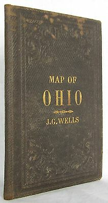 Scarce Pocket MAP OF OHIO By J John G Gaylord Wells 1821-1880 HAND COLORED C1857