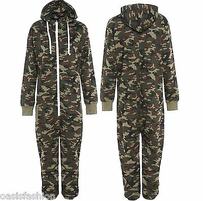 Kids Army Camo Print Onesie Hooded Jumpsuit All In One Boys Girls Fleece 2-14 Yr