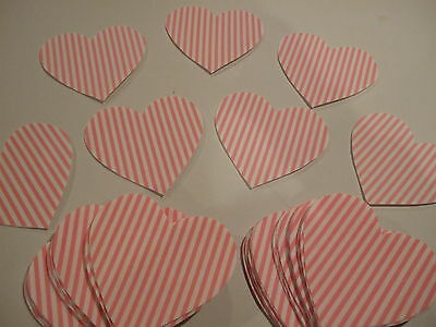"""Lot of 61 PCS Pink & White Striped Heart Sew On Appliques 4"""" X 4"""" #133 NEW"""