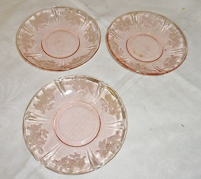 "3  Pink Depression Glass ""Sharon Cabbage Rose"" Saucers 1930s"