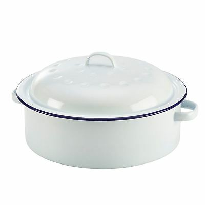Falcon Enamel Roaster Round - Traditional White 26cm