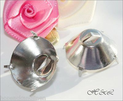 6* Findings 18mm Sew On Shank Prong Button Setting SP Crystal 1122 cup