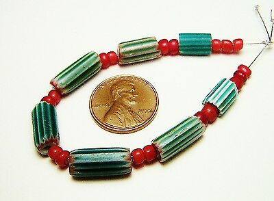 Old Green Chevrons & Red Whithearts Venetian Glass African Trade Beads Mix