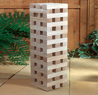 Wooden Giant Jenga Tower Garden, Cheap Party Game (1.0m / 60 Pieces) Brand New