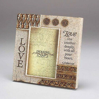 """LOVE ONE ANOTHER DEEPLY PHOTO FRAME RESIN 8"""" WALL NEW VALENTINES DAY DICKSONS GF"""