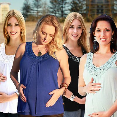 NEW Maternity Top Breastfeeding Top Nursing Top Tank Top Summer Singlet  S- PLUS