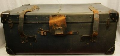 Vintage 1930s Leather Travel Trunk/Steamer With Shipping Label Made By Whiteleys