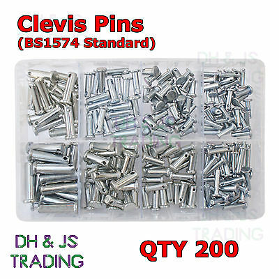 Assorted Box of Clevis Pins BZP 8 Sizes Qty 200 3/16 1/4 9/32 5/16 3/8 5/8 7/8