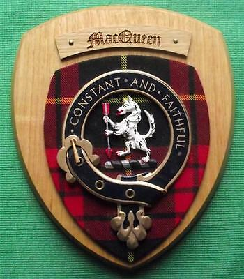 Vintage Scottish Clan MacQueen Tartan Light Oak Plaque Crest Shield