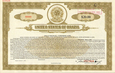 United States of Brazil Estados Unidos do Brazil $20 specimen stock certificate