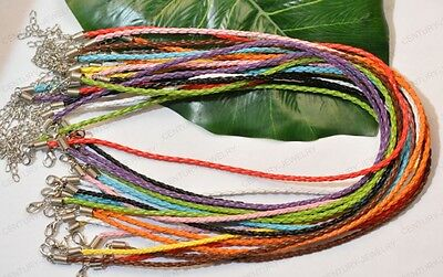 NP163 Wholesale 50pcs Mixture Color Braided Leather Necklace lobster Clasp 450MM