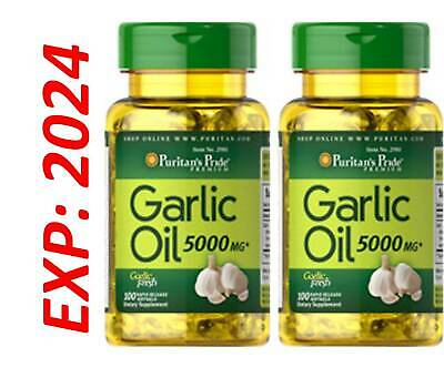Garlic Oil 5000 MG 2 X 100 = 200 Caps Cholesterol Cardio Health Very Fresh Pills