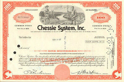 Chessie Railroad System now CSX stock certificate 100 shares