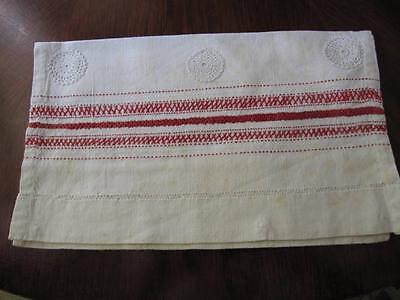 ANTIQUE GERMAN EMBROIDERY STITCHES LINEN SAMPLER Hand Done in Red FRENCH SEAMS