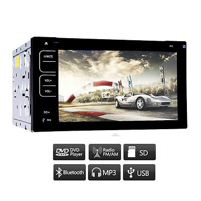 "HD CAR AUDIO 2 DOUBLE-DIN 6.2"" TOUCHSCREEN CD/DVD USB AUX PLAYER RECEIVER STEREO"