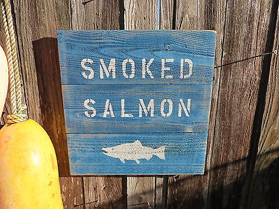 "16 Inch Wood Cedar Hand Painted ""smoked Salmon"" Sign Nautical Maritime (#s300)"