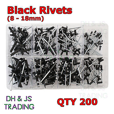 Assorted Box of Black Pop Rivets (Most Popular) Black 8 Sizes Qty 200 Aluminium