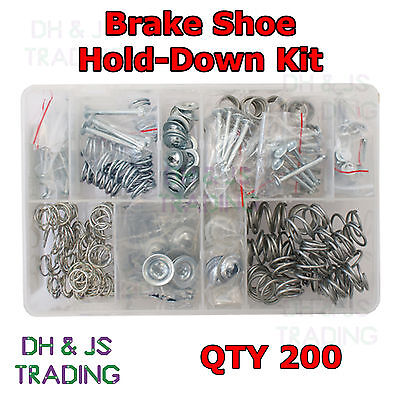 Assorted Box of Brake Shoe Hold Down Kit Pins Washers + Springs Qty 200