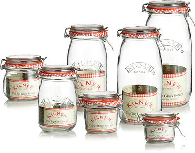 Vintage Round Kilner Glass Jam Spices Sauce Food Storage Preserve Clip Top Jars