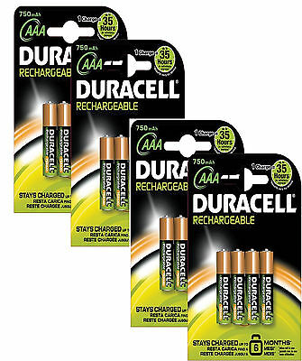 16 x DURACELL AAA 750 mAh RECHARGEABLE BATTERIES NiMAH HR03 LR03 PHONE