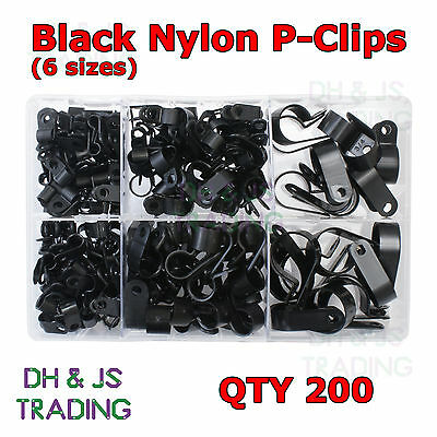 Assorted Box of Nylon P-Clips Black 4.8mm - 27.9mm Wire Cable Conduit P Clip