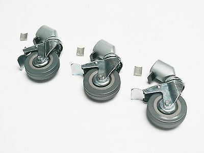 Swivel Casters Wheels 22mm Heavy Duty Rubber Brake 3 Pieces For Light Stand UK