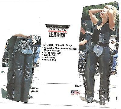 NEW Womens' Leather Fringed Motorcycle Chaps--Lined, Zippered Legs, Made in USA