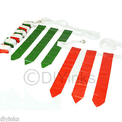 Red and Green Football Flag Set - 12 Belts with 36 Flags (18 per color)