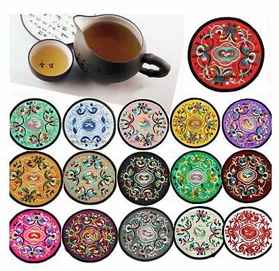 Wholesale60pair/120pcs Chinese Handmade Silk Embroidered Cup Mat Pad Coaster