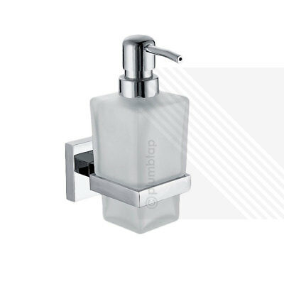 Wall Mounted Soap Dispenser Pump Action with Frosted Glass / Chrome Finish