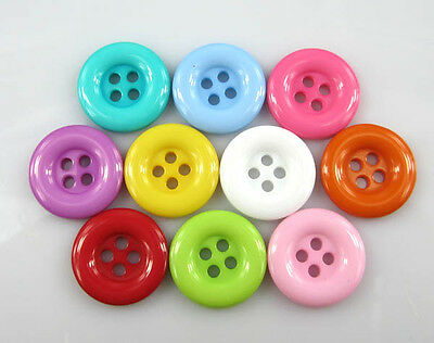 Free Shipping 100pcs Mixed color Round 4-Holes Resin Sewing Buttons 18mm