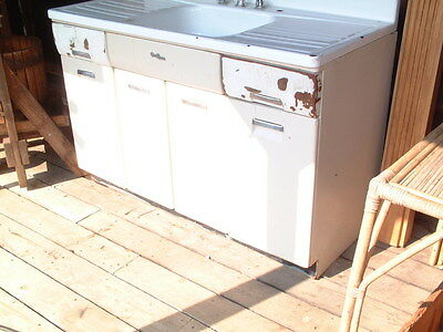 vintage 1950 39 s kitchen metal sink cabinet with storage double splash