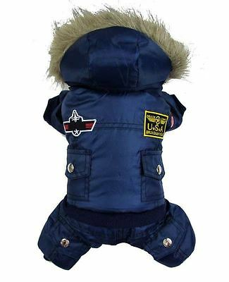 Cute Pet US Airforce Jumpsuit Jacket Warm Puppy Coat Hoodie Dog Apparel Outfit