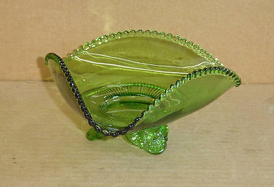 EAPG GREEN TRICORNER LOW FOOTED BOWL COLORADO STATE US GLASS #15057 1898