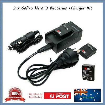 3 x Gopro Hero 3 3+ Compatible Batteries + Car 12v + Wall Socket Charger Go Pro
