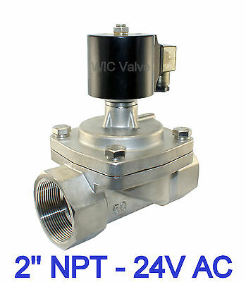 """2"""" Inch Stainless Electric Steam Hot Water Solenoid Valve NC 24V AC Teflon Seal"""
