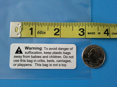 """25 50 100 200 500 Plastic Poly Bag Suffocation Warning Labels Stickers 2 5/8 x1"""""""