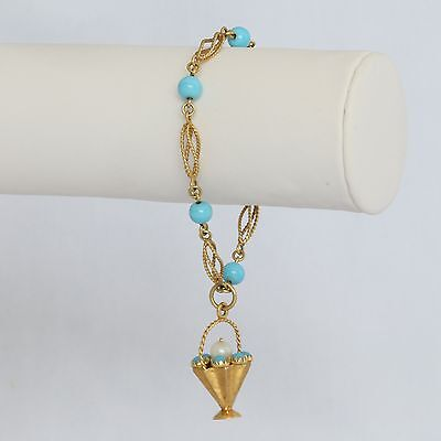 """RARE HEAVY ETRUSCAN FOB SOLID 18K GOLD TURQUOISE 7"""" BRACELET, 11.9 gms., Exc!"""