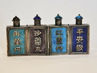 ANTIQUE CHINESE SILVER ENAMEL TRIPLE HINGED SNUFF BOTTLE SCENT PERFUME QING