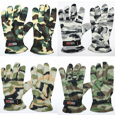 Fleece Thermal military camo Glove Adjust Wrist Strap camping ski Tactical New