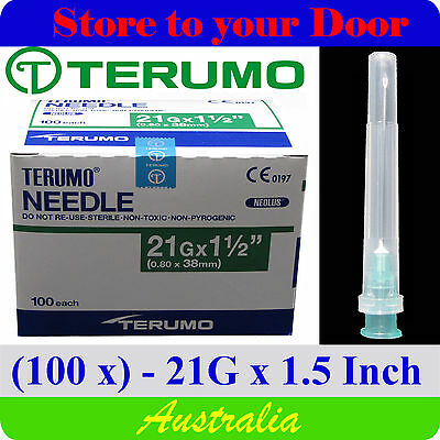 (100) 21G x 1.5 Inch Terumo Needles / Medical Hypodermic Syringe Tips - Sharps