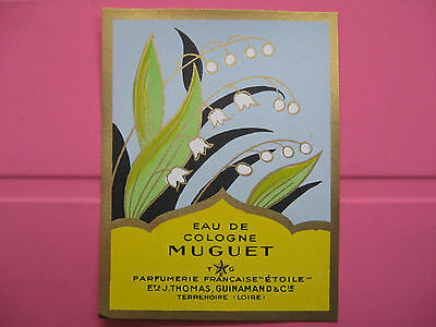 1 Ancienne Etiquette D'eau De Cologne Muguet/antique Perfume Label French Paris