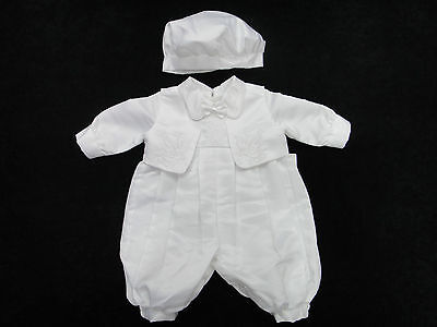 New Boys 3Pcs Baptism/Christening/Wedding/Party/ Tuxedo Romper Outfit Size 000-1