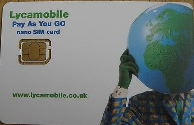 Lycamobile Nano Sim Card for iPhone 5, Pay as you Go - with £2 Free Credit*